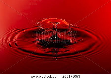 Red Water Droplet Splash With Ripples Close Up.
