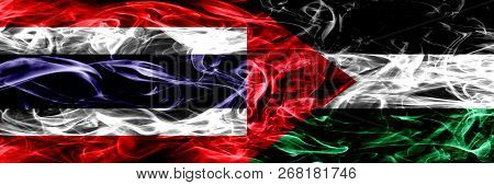 Thailand Vs Palestine, Palestinian Smoke Flags Placed Side By Side. Thick Abstract Colored Silky Smo