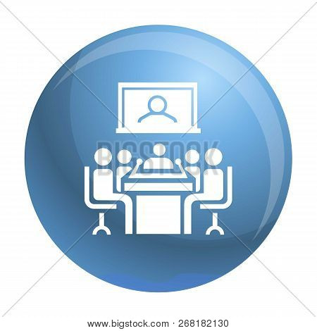 Video Conference Icon. Simple Illustration Of Video Conference Vector Icon For Web Design Isolated O
