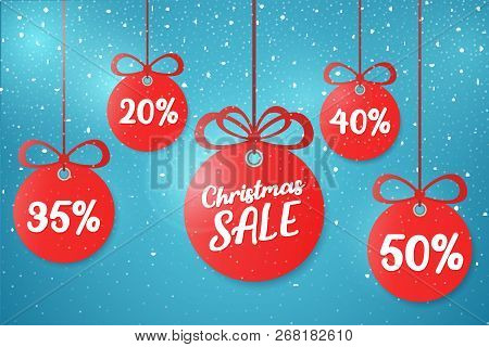 Christmas And New Year's Sale 2019. Beautiful Discount And Promotion Red Christmas Balls. Special Of