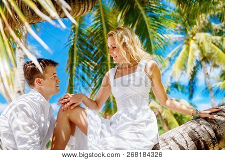 Happy Groom And Bride Having Fun In A Tropical Jungle Under The Palm Tree.  Wedding And Honeymoon On
