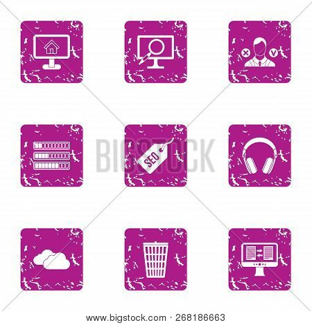 Market Research Icons Set. Grunge Set Of 9 Market Research Vector Icons For Web Isolated On White Ba