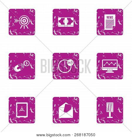 Article Payment Icons Set. Grunge Set Of 9 Article Payment Vector Icons For Web Isolated On White Ba