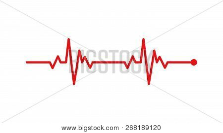Heart Rhythm, Electrocardiogram, Ecg - Ekg Signal, Heart Beat Pulse Line Concept Design Isolated On