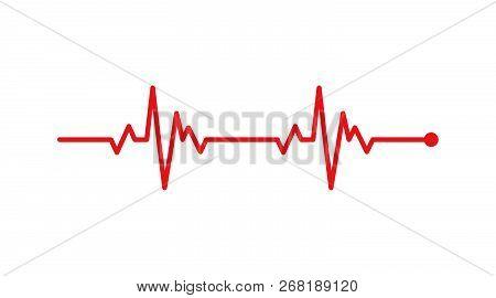 Heart Rhythm, Electrocardiogram, Ecg - Ekg Signal, Heart Beat Pulse Line Concept Design Isolated On