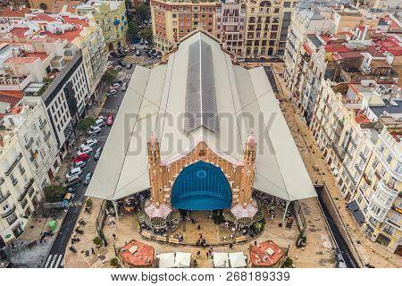 Valencia, Spain, October 2018 - Aerial View Of Mercat De Colon In Valencia