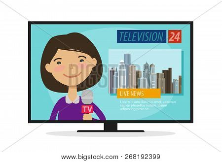 Live News. Young Woman, Newscaster With Microphone In Hand. Tv, Television Concept. Cartoon Vector I