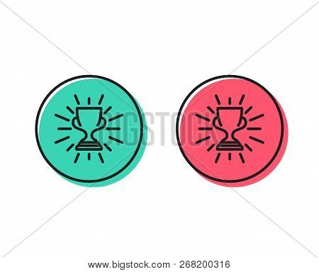 Award Cup Line Icon. Winner Trophy Symbol. Sports Achievement Sign. Positive And Negative Circle But