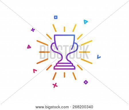Award Cup Line Icon. Winner Trophy Symbol. Sports Achievement Sign. Gradient Line Button. Trophy Ico