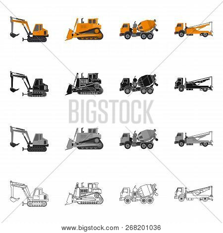 Vector Design Of Build And Construction Icon. Set Of Build And Machinery Stock Vector Illustration.