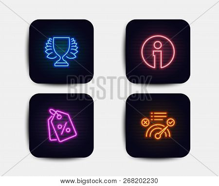 Neon Set Of Winner, Info And Discount Tags Icons. Correct Answer Sign. Sports Achievement, Informati
