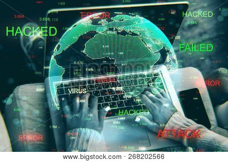 Close Up Of Hands Using Hacked Device On Blurry Background With Globe. Attack And Computing Concept.