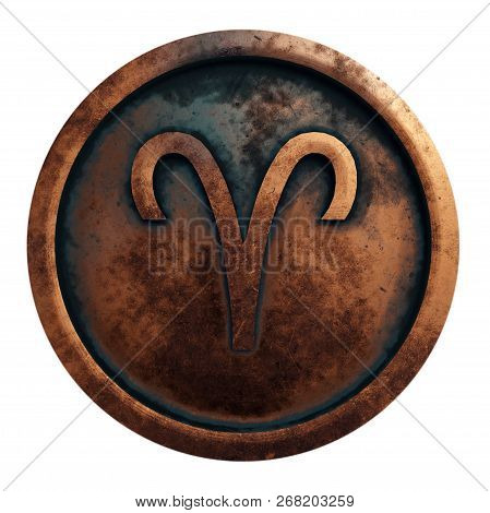 Horoscope Sign Aries In The Copper Circle, 3d Rendering
