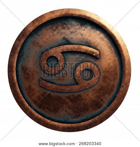 Horoscope Sign Cancer In The Copper Circle, 3d Rendering