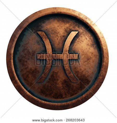 Horoscope Sign Pisces In The Copper Circle, 3d Rendering