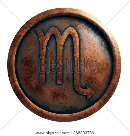 Horoscope Sign Scorpio In The Copper Circle, 3d Rendering