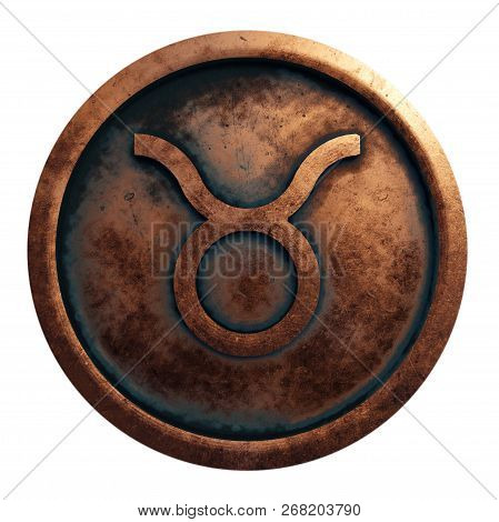 Horoscope Sign Taurus In The Copper Circle, 3d Rendering