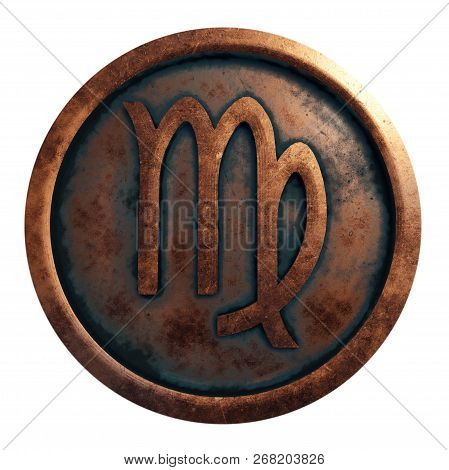 Horoscope Sign Virgo In The Copper Circle, 3d Rendering