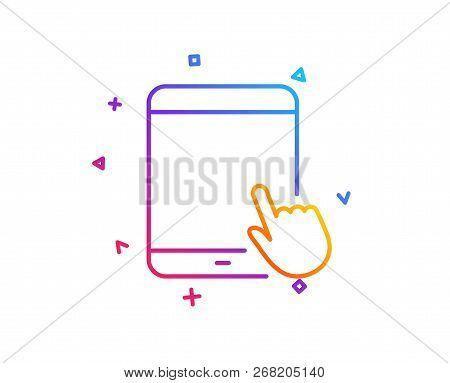 Tablet Pc Icon. Mobile Device With Hand Cursor Sign. Touchscreen Gadget Symbols. Gradient Line Butto