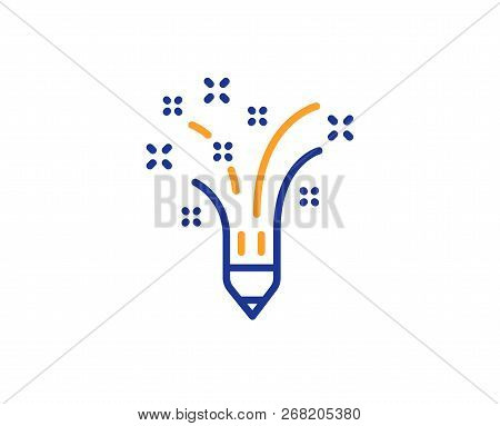 Inspiration Line Icon. Creativity Pencil Sign. Graphic Art Symbol. Colorful Outline Concept. Blue An