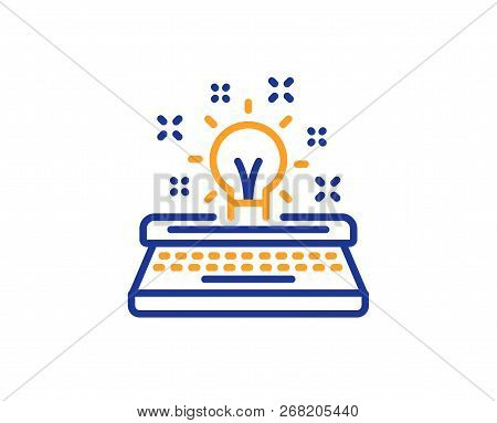Typewriter Line Icon. Creativity Sign. Inspiration Light Bulb Symbol. Colorful Outline Concept. Blue