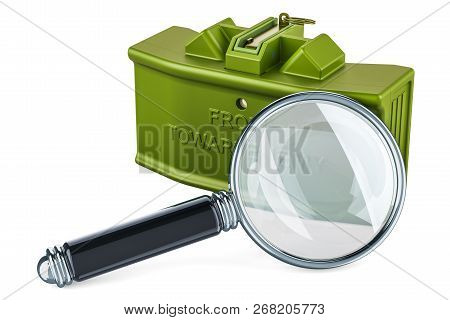 Magnifier With Anti-personnel Mine, 3d Rendering Isolated On White Background