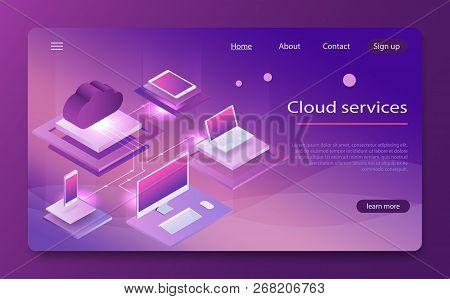 Isometric Cloud Computing Services Concept. Concepts Cloud Storage. Concept Of  Big Data Processing