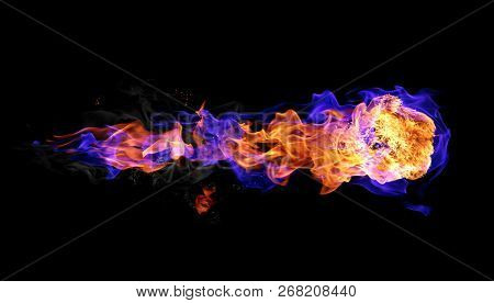 Fireball isolated on black background. Blue and red fire.