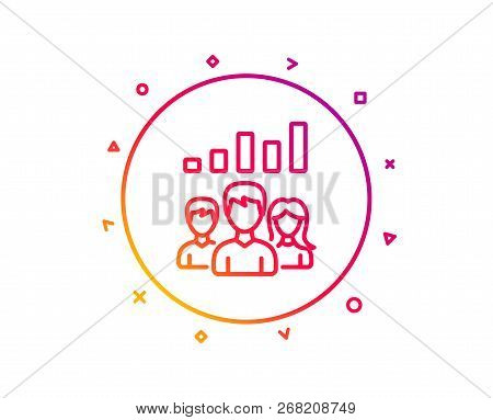 Teamwork Results Line Icon. Group Of People Sign. Gradient Pattern Line Button. Teamwork Results Ico