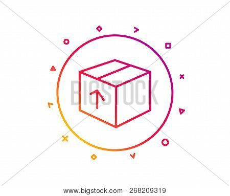 Delivery Box Line Icon. Logistics Shipping Sign. Parcels Tracking Symbol. Gradient Pattern Line Butt