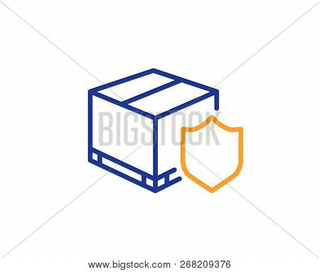 Delivery Insurance Line Icon. Parcels Tracking Sign. Shipping Box Symbol. Colorful Outline Concept.