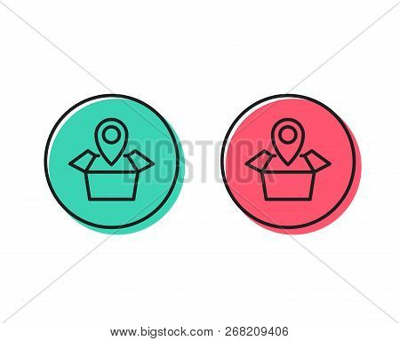Package Tracking Line Icon. Delivery Monitoring Sign. Shipping Box Location Symbol. Positive And Neg