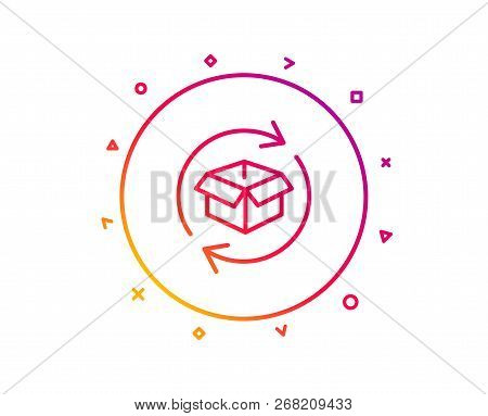 Exchange Of Goods Line Icon. Return Parcel Sign. Package Tracking Symbol. Gradient Pattern Line Butt