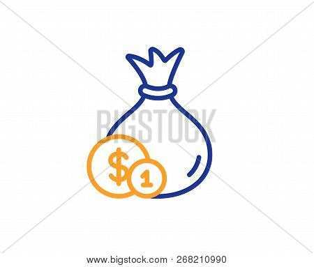 Money Bag With Coins Line Icon. Cash Banking Currency Sign. Dollar Or Usd Symbol. Colorful Outline C
