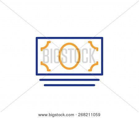 Cash Money Line Icon. Banking Currency Sign. Atm Service Symbol. Colorful Outline Concept. Blue And