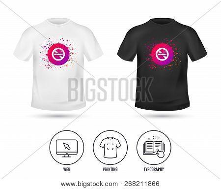T-shirt Mock Up Template. No Smoking Sign Icon. Quit Smoking. Cigarette Symbol. Realistic Shirt Mock