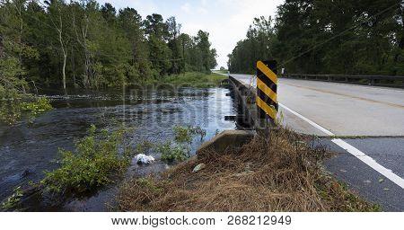 Water Rising Under A Bridge After Hurricane Florence Near Fayetteville North Carolina