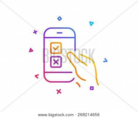 Mobile Survey Line Icon. Select Answer Sign. Business Interview Symbol. Gradient Line Button. Mobile