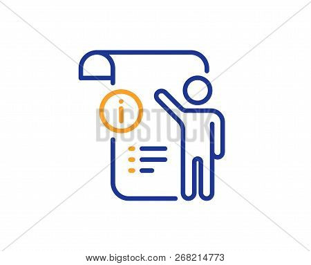 Manual Doc  Line Icon. Technical Instruction Sign. Colorful Outline Concept. Blue And Orange Thin Li