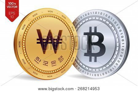 Bitcoin. Won. 3d Isometric Physical Coins. Digital Currency. Korea Won Coin With The Text In Korean