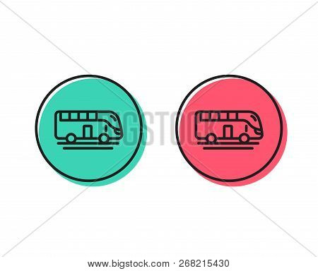 Bus Tour Transport Line Icon. Transportation Sign. Tourism Or Public Vehicle Symbol. Positive And Ne