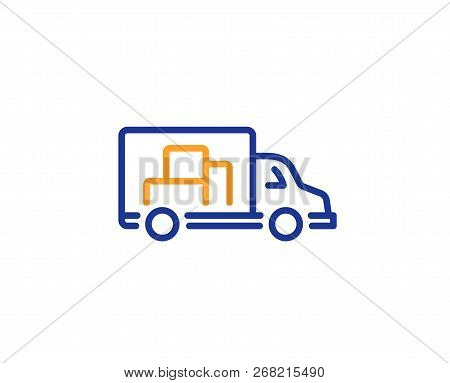 Truck Transport Line Icon. Transportation Vehicle Sign. Delivery Symbol. Colorful Outline Concept. B