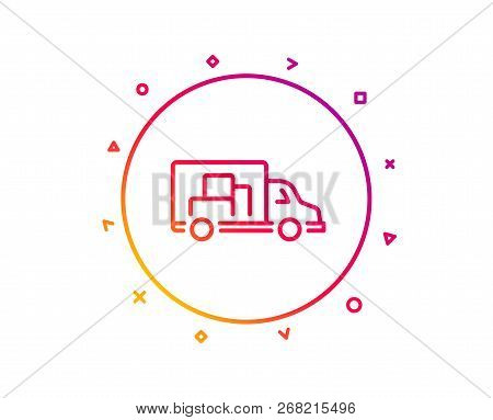 Truck Transport Line Icon. Transportation Vehicle Sign. Delivery Symbol. Gradient Pattern Line Butto
