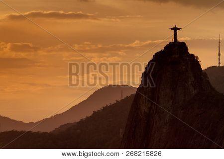 Rio De Janeiro, Brazil - Jan 28, 2015: Silhouette Of Christ The Reedemer Statue, Corcovado, Rio De J