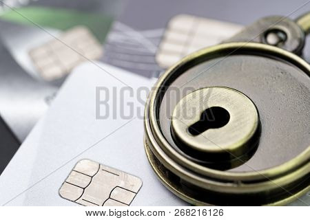 Credit Card Online Payment Or Shopping Website Data Security Concept, Key Lock Pad On Pile Of Credit
