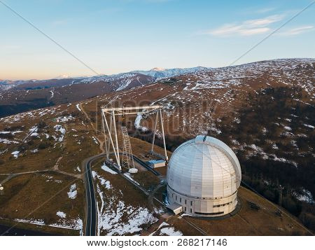 Special Astrophysical Observatory In The Evening. Aerial View.