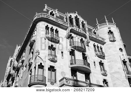 Barcelona, Spain - March 30, 2016: Casa Fuster Hotel Building On Blue Sky. Modernist Architecture Of