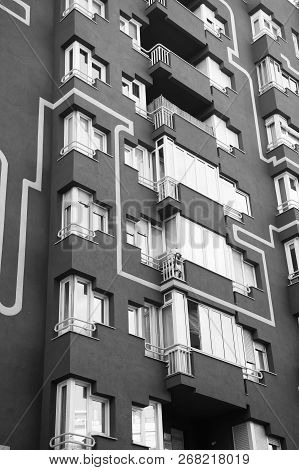 Barcelona, Spain - March 30, 2016: Apartment Building Facade. Residential Real Estate. Modern Archit