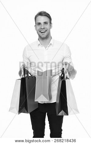 Is It For Me. Guy Satisfied Got Bag Gift. Man Happy Received Package Gift Isolated White. Birthday D