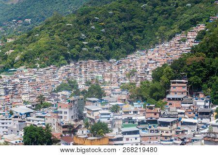 Aerial View Of Favela Rocinha In Rio De Janeiro, Brazil